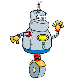 Cartoon robot waving vector