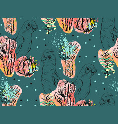 Hand made abstract collage seamless pattern vector
