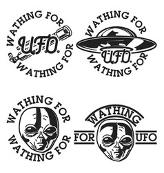 Color vintage ufo emblems vector