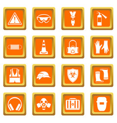 safety icons set orange vector image