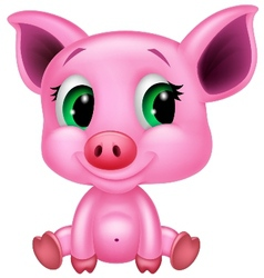 Cute baby pig cartoon vector image