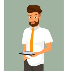 Man holds a tablet pc in his hand vector image