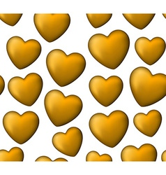Golden love seamless background of heart bubbles vector