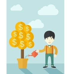 Asian businessman happily watering the money tree vector