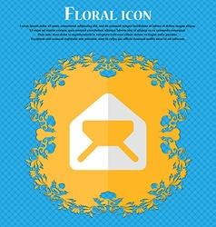 Mail envelope letter floral flat design on a blue vector