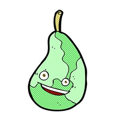 Comic cartoon happy pear vector