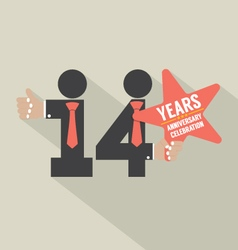 14th years anniversary typography design vector