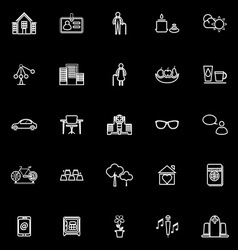 Retirement community line icons on black vector