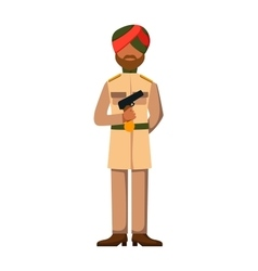 Indian troop armed forces man with weapon vector