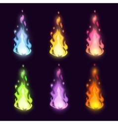 Magic cartoon fairy colorful fire set vector