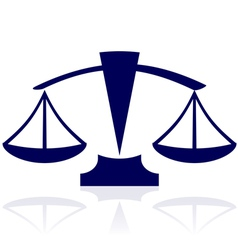 Blue justice scales icon vector