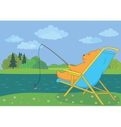 Teddy bear fishing in forest river vector image