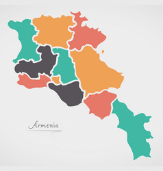 Armenia map with states and modern round shapes vector