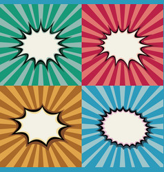 blank pop art speech bubbles and burst shapes on vector image vector image