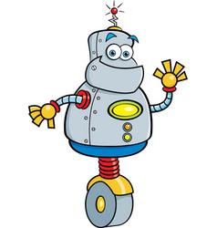 Cartoon robot waving vector