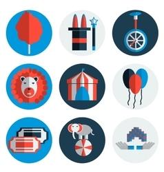 Circus icons flat set vector image