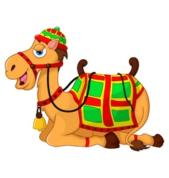 cute camel cartoon sitting vector image vector image