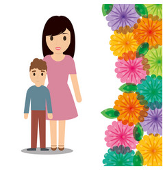 Cute mom and son flower border decoration vector