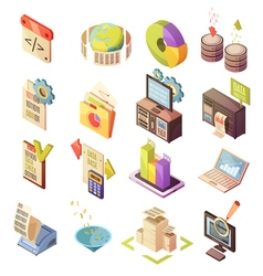 Data analysis isometric elements set vector