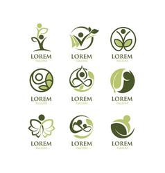 eco people logo set vector image