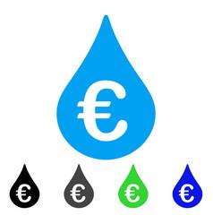 Euro fuel drop flat icon vector