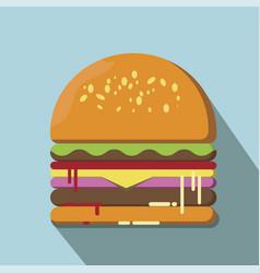 hamburger flat style vector image vector image