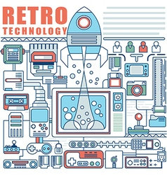 Infographics elements concept of retro technology vector