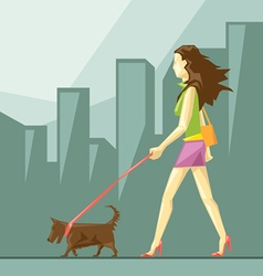 Lady in green and pink clothes and red shoes vector