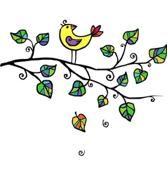 little yellow bird in leaves vector image