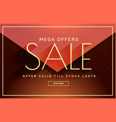 Mega sale banner design with warm colors vector