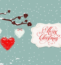 merry christmas card with balls vector image