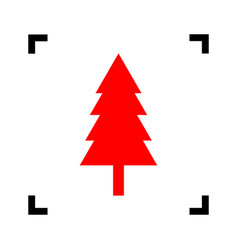 New year tree sign red icon inside black vector