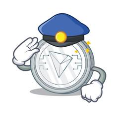 Police tron coin character cartoon vector
