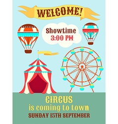 Poster circus is coming to town vector
