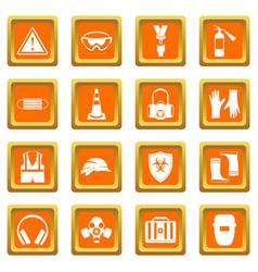 safety icons set orange vector image