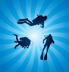 scuba divers underwater vector image vector image