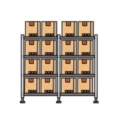 shelf with carton boxes warehouse storage vector image