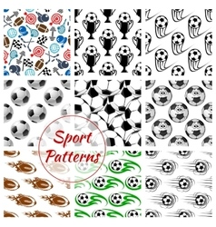Sport balls and items seamless patterns set vector image vector image