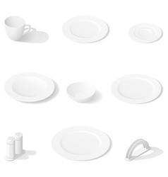 tableware isometric icon set vector image vector image