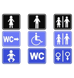 Wc button icons set vector