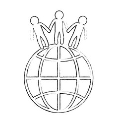 World planet with people vector
