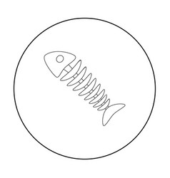 Fish skeleton icon in outline style isolated on vector