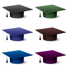Set of of colorful hats graduate on white vector