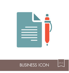 Contract document with pencil outline icon vector