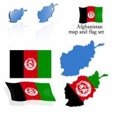 afghanistan map and flag set vector image