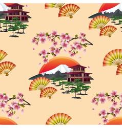 Japanese decorative seamless pattern with sakura vector image
