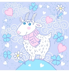 Cute goat on a meadow vector