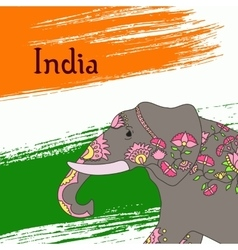 Indian elephant with beautiful pattern vector