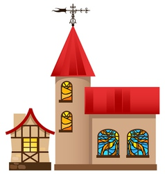 Medieval house and church vector