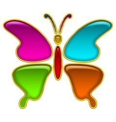 Button colorful butterfly vector
